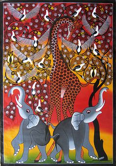 This painting is by deceased artist    E S Tingatinga. I think it's wonderful.