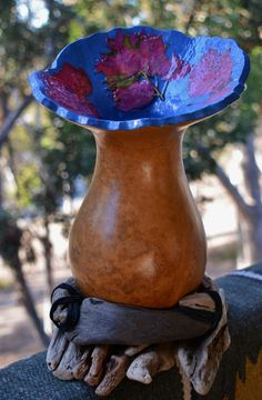 Gourd Vase with Pressed Flowers on Drift Wood Base  :)  Fantastic Mother's Day Gift