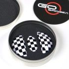 GoBadges IP03 Checker Interior Door Pull Cover and Glove Box Cap for MINI Cooper R56/58