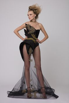 """Azzi & Osta Couture Fall/Winter 16/17   """"Promises Of Dawn""""    Black, Dress, Strapless, Fishtail, Crepe, Silk Gazar, Tulle, Hand Embroidery, Metallic Gold Thread"""