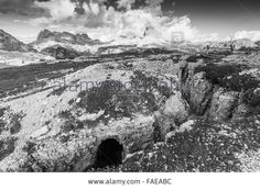 Stock Photo - Trenches of the First World War on Mt.Piana, the Dolomites.  Italy