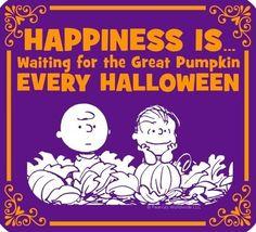 Happiness and pumpkins on Halloween Snoopy cartoon via www.Facebook.com/Snoopy