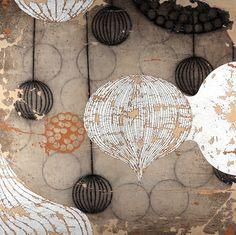 "Costello/Childs Contemporary: Erik Gonzales, ""Lanternas"" 60""x60""  mixed media on canvas on wood panel"