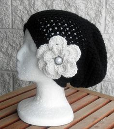 Black Hand Crochet Slouchy Hat Slouchy Beanie  by endlesscreation, $23.00