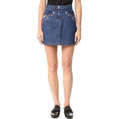 The Kooples Denim Embroidered Miniskirt ($260) ❤ liked on Polyvore featuring skirts, mini skirts, denim miniskirt, embroidered mini skirt, zipper mini skirt, short mini skirts and zipper skirt