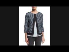 Best Price Armani Collezioni 3/4-Sleeve Zip-Front Zigzag Jacket, Long-Sl...