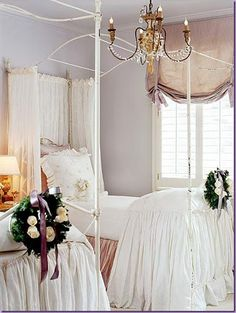Girl's room on the fancy. #frenchcountry #shabbychic #girlie Love the white bedding.