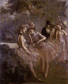 .:. Scene in the Wings of a Theatre (c.1870-1900). Jean Louis Forain (French, 1852-1931).