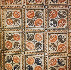 Mosaico de la habitación nº 2 de la villa romana de La Olmeda.