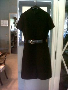 50s black wool winter cocktail dress with lather belt