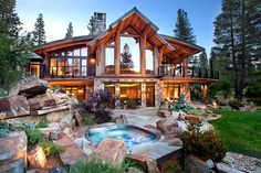 Dream House - Luxury Rustic Design Photos) - image for you Haus Am See, Timber Frame Homes, Log Cabin Homes, Log Cabins, Dream House Exterior, Cabins In The Woods, House Goals, Rustic Design, My Dream Home
