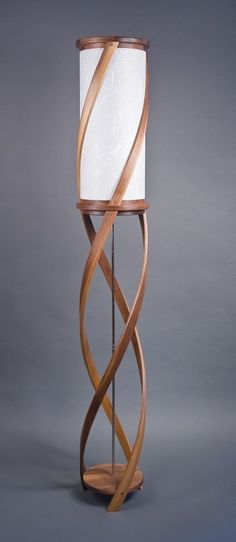 The Tango Floor Lamp - Bent Laminated Walnut & White Silk Shoji