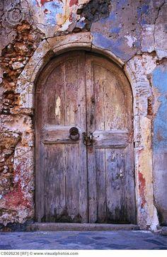 Old Door on Greek House > Stock Photos Old Wooden Doors, Rustic Doors, Cool Doors, Unique Doors, When One Door Closes, Greek House, Vintage Doors, Door Gate, Closed Doors