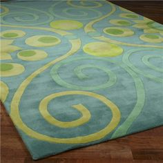 Soft Blue Yellow Lime Green Rug For The Nursery