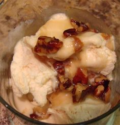 This has been our family's favorite ice cream topping for three generations. Rich, creamy, buttery and nutty... What's not to love?  =)Also wonderful served warm over angel food cake, spice cake, apple cake or apple  pie- almost anything! Sometimes I'll omit the pecans and add 1/2 tsp. of rum extract and sliced bananas into the pot at the end. So easy with pantry staples, you'll never buy the stuff in a jar again once you try your own homemade.