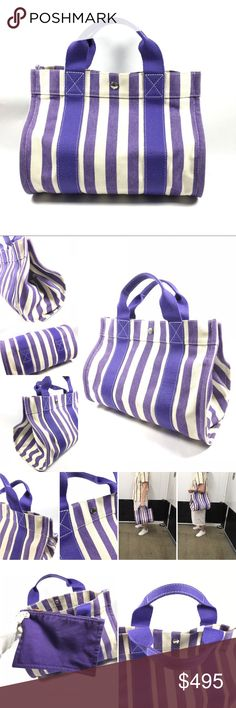 Authentic Hermes Tote Bag No lowballing no trade. Hermes Purple and White Striped Canvas Tote with pochette  Brand: Hermes. Made in Paris.   Material: 100% cotton    Excellent condition, very light signs of use   Some snags and few very minor barely noticeable marks on canvas. Handles show light signs of wear.   Few minor marks on the interior. Some snags  throughout small Pouch.   This bag comes with Hermes dust bag Hermes Bags Totes