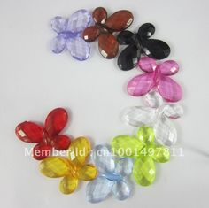 Wholesale 4042mm butterfly facted acrylic beads,transparent, mixed colors for chunky necklace, Free shipping, $0.16/Piece | DHgate