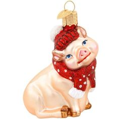 Old World Christmas Glass Ornament - Snowy Pig
