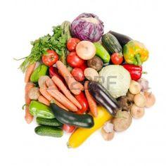Assortment of fresh vegetables  isolated on white