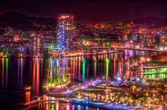 The Nagasaki Tall Ships Festival has the city lit up perfectly and very beautifully at night. Find out more at http://thebestworldtravels.com/festivals-happen-japan-april/