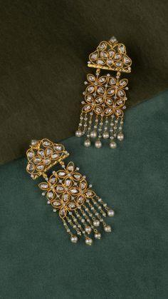 AZVA polki earrings with pearls Fancy Jewellery, Gold Jewellery Design, Gold Jewelry, Handmade Jewellery, Vintage Jewellery, Indian Jewelry Sets, Indian Wedding Jewelry, Bridal Jewelry, Jewelry Design Earrings