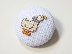 Duck brooch, cross stitched by Her Sweet Embrace