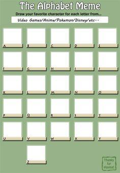Alphabet Meme by Card-Queen.deviantart.com on @DeviantArt