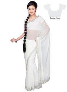 White Chiffon Saree