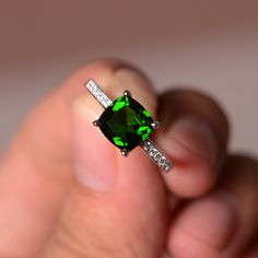 Natural Diopside Ring Emerald Green Gemstone Ring by KnightJewelry