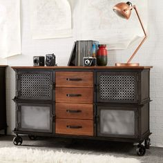 Buy the Evoke Industrial Furniture 4 Drawer & 4 Door Sideboard from Oak Furniture House with free delivery* Oak Furniture House, Furniture Direct, Metal Furniture, Furniture Projects, Furniture Making, Loft Furniture, Furniture Dolly, Kitchen Furniture, Large Sideboard
