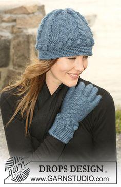 DROPS 102-25 - Bonnet et gants DROPS en 'Silke-Alpaca' au point irlandais avec nopes et bordures au crochet - Free pattern by DROPS Design