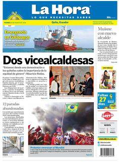 Los temas destacados son: Dos vicealcaldesas, Emergencia en Galápagos, Muisne con nuevo alcalde, 12 paradas abandonadas, y Protestas amenazan al Mundial.