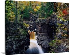 Waterfall and black cliffs along Temperance River, Temperance River State Park, Minnesota http://www.greatbigcanvas.com/