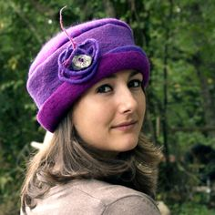 felt hat made with merino wool Violet by jannio on Etsy. , via Etsy.
