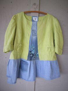 Fun upcycled tunic linen clothing X Large 1 X Artsy Eco shirt