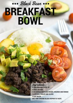 Black Bean Breakfast Bowl!:) Find healthy, delicious recipes at www.MarysLocalMarket.com Sustainable-Natural-Community #maryslocalmarket