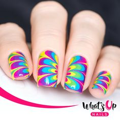 Create stunning, and easy, watermarbled nails with these neon petal designed water decals.