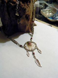Crimson and Silver Valentine Dream Catcher w/Tourmaline Necklace    (n042). $28.00, via Etsy.