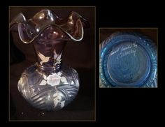 This beautiful Hand painted Fenton piece of Mulberry color starts with blue base to purple top.                       &n...