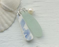 Scottish Sea Glass, Beach Pottery and Fresh Water Pearl Necklace - BEACH TRIO £24.00