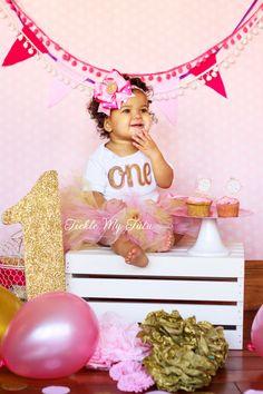 Elegant Pink and Gold Glitter Birthday Tutu Outfit, Pink and Gold First Birthday Tutu Set, Second Birthday Tutu Set by TickleMyTutu on Etsy https://www.etsy.com/listing/219772510/elegant-pink-and-gold-glitter-birthday