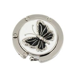 Amico Glittery Black Butterfly Accent Round Folding Hook Handbag Table Hanger by… Purse Hanger, Purse Hook, Hangers, Handbag Accessories, Women Accessories, Tabletop Accessories, Handbag Patterns, Thing 1, Shades Of Black