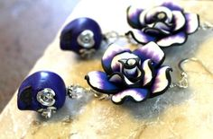 Read More About Sugar Skull Earrings - Cobalt Blue Skulls with Silver Rose Eyes & Polymer Clay Roses - Day of the Dead - Halloween Earrings - Skull Bling