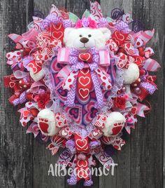 20 inch wallDoor wreath Valentine Ornament Wreath PinkFuchsia Heart Wreath Purple