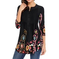 online shopping for Ray-JrMALL Womens Sleeve Roundneck Floral Tunic Tops Loose Blouse Button Up Shirts from top store. See new offer for Ray-JrMALL Womens Sleeve Roundneck Floral Tunic Tops Loose Blouse Button Up Shirts Floral Tunic, Floral Shirts, Floral Tops, Blouses For Women, Ladies Blouses, Women's Blouses, Ideias Fashion, Sleeves, Women's Casual