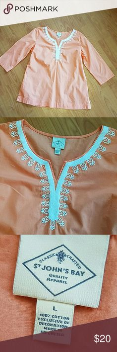 NWOT St. John's Bay peach tunic top 3/4 sleeve This beautiful tunic top has never been worn and is in new condition.  100% cotton super lough weight & airy.  The bust measures at 22 inches across across lying flat.  The length is 27 inches. St. John's Bay Tops Tunics