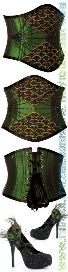 Love the peacock heels with this gorgeous hand beaded underbust corset. So much elegance!