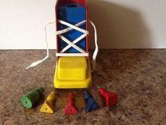 Vintage PLAYSKOOL Wooden Shoe Educational Toy by OgreberryCottage