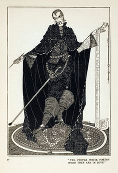 """8a.  """"Yes, people write poetry when they are in love.""""  --- THE GOLOSHES OF FORTUNE.  (p.72)    --- Harry Clarke Illustrations: Fairy Tales by Hans Christian Andersen"""