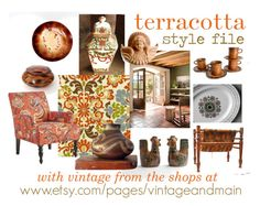 terracotta by gazaboo featuring interior design ideas for today's terracotta decor with vintage picks from the shops at VintageAndMain